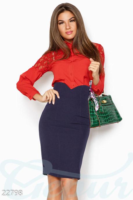 Купить Блузы, рубашки, Однотонная женская блуза, Блуза-22798, GEPUR, ярко-красный