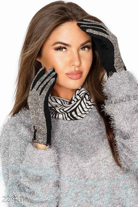 Купить Перчатки, шарфы, шапки / Перчатки, Меланжевые трикотажные перчатки, Перчатки-22810, GEPUR, серо-черный меланж