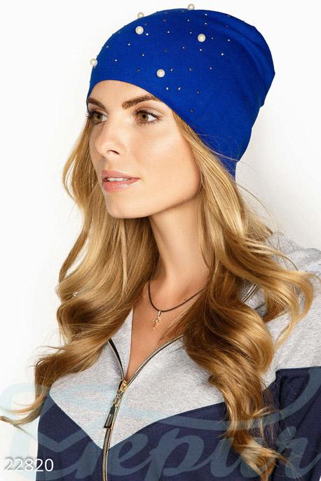 Купить Перчатки, шарфы, шапки / Шапки, Двухслойная трикотажная шапка, Шапка-22820, GEPUR, синий электрик