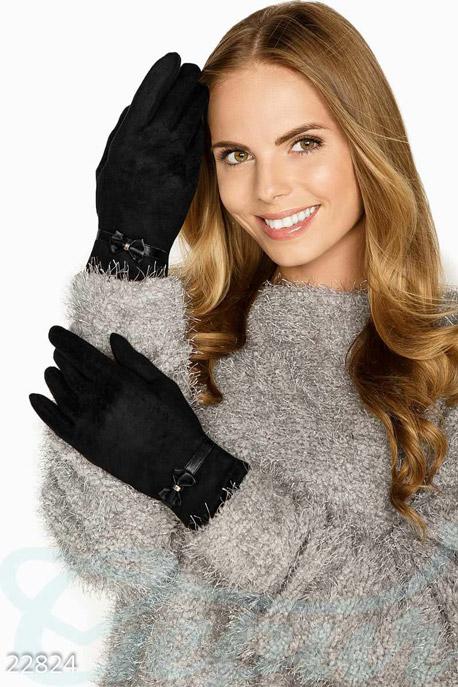 Купить Перчатки, шарфы, шапки / Перчатки, Замшевые демисезонные перчатки, Перчатки-22824, GEPUR, черный