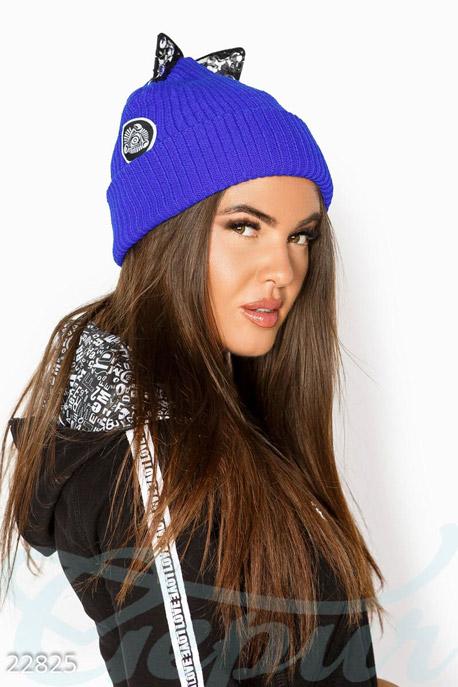 Купить Перчатки, шарфы, шапки / Шапки, Шапка с ушками, Шапка-22825, GEPUR, синий электрик