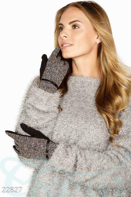 Купить Перчатки, шарфы, шапки / Перчатки, Комбинированные трикотажные перчатки, Перчатки-22827, GEPUR, серо-черный меланж