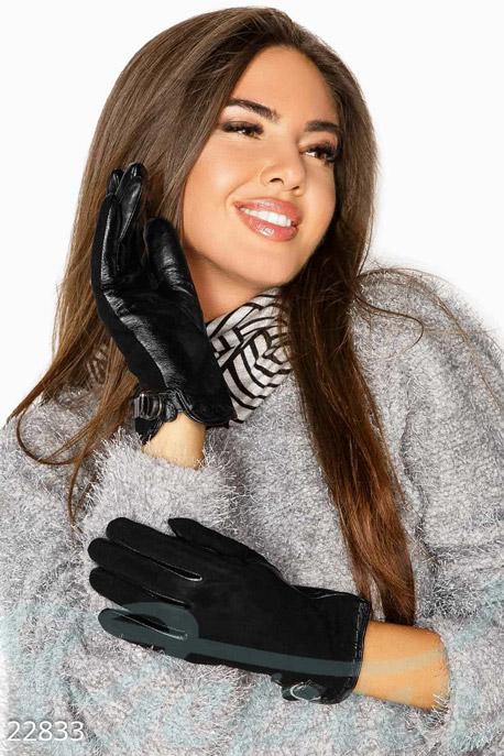 Купить Перчатки, шарфы, шапки / Перчатки, Стильные комбинированные перчатки, Перчатки-22833, GEPUR, черный