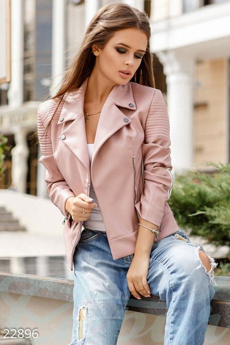 Купить Верхняя одежда / Кожаные куртки, Кожаная куртка-косуха, Куртка-22896, GEPUR, пудрово-розовый