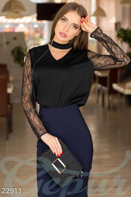 Купить Блузы, рубашки, Комбинированная шелковая блуза, Блуза-22911, GEPUR, черный