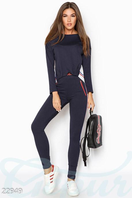 Купить Спортивные костюмы / Со штанами, Модный тренировочный костюм, Костюм-22949, GEPUR, темно-синий