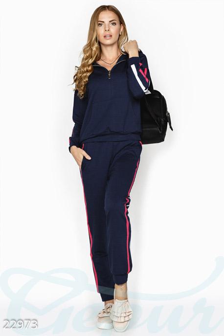 Купить Спортивные костюмы / Со штанами, Тренировочный костюм полоски, Костюм-22973, GEPUR, темно-синий