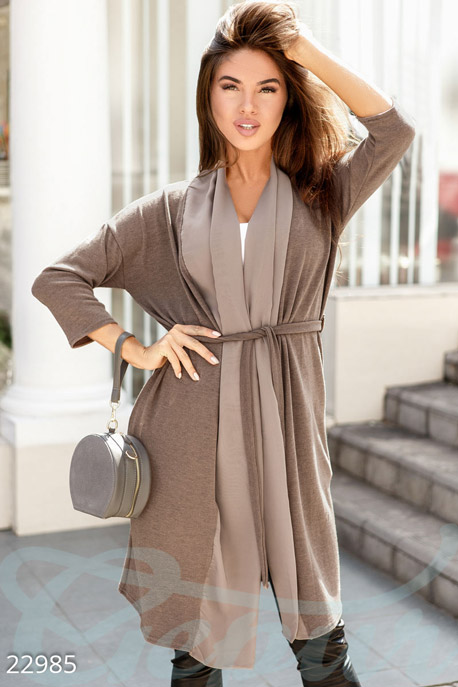 Купить Верхняя одежда / Плащи и кардиганы, Тонкий ангоровый кардиган, Кардиган-22985, GEPUR, светло-коричневый