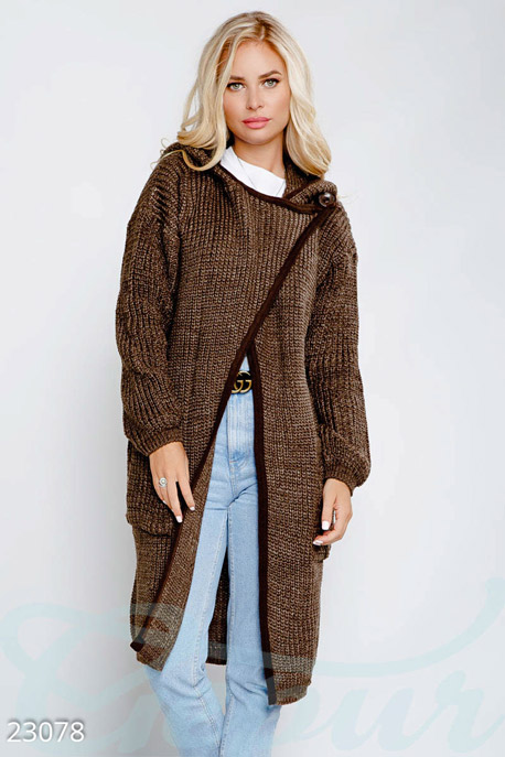 Купить Верхняя одежда / Большие размеры, Длинный вязаный кардиган, Кардиган-23078, GEPUR, коричневый