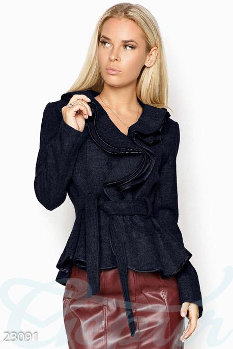 Купить Верхняя одежда / Пиджаки, Кашемировый пиджак воланами, Пиджак-23091, GEPUR, темно-синий