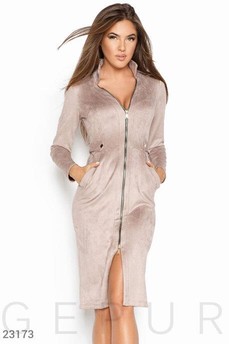 Купить Платья / Большие размеры, Облегающее замшевое платье, Платье-23173, GEPUR, кремовый