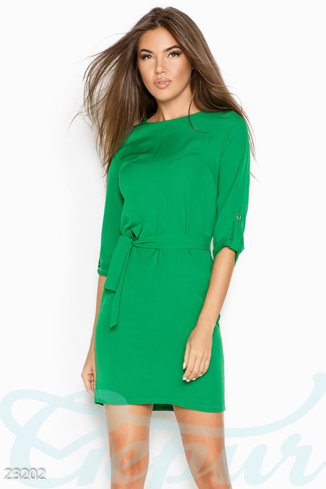 Купить Платья / Мини, Однотонное лаконичное платье, Платье-23202, GEPUR, ярко-зеленый