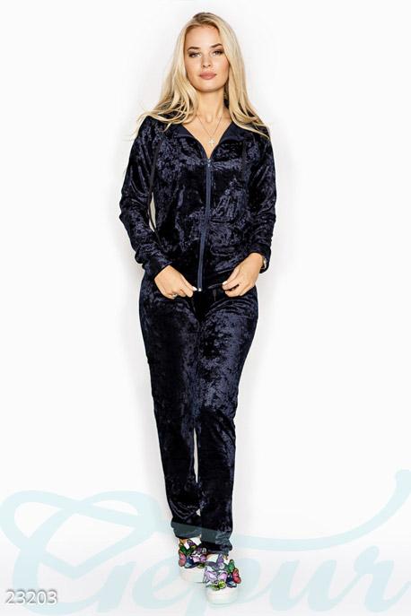 Купить Спортивные костюмы / Со штанами, Бархатный брючный костюм, Костюм-23203, GEPUR, темно-синий