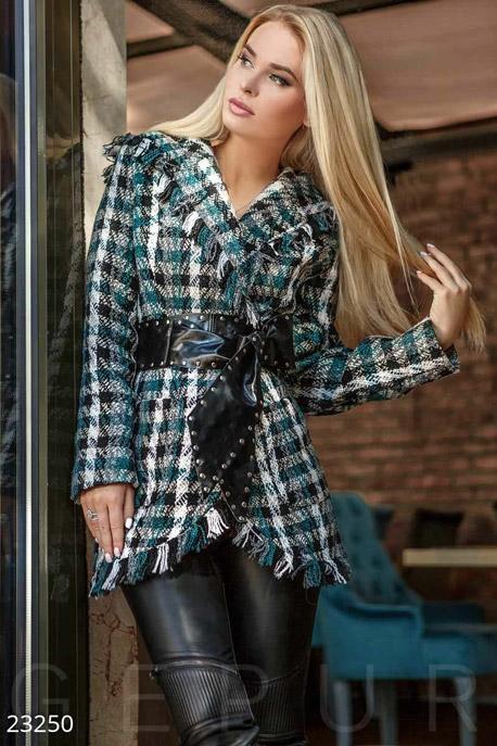 Купить Верхняя одежда / Пиджаки, Теплый жакет букле, Жакет-23250, GEPUR, зелено-белый
