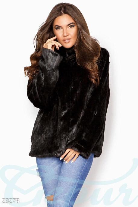 Купить Верхняя одежда / Большие размеры, Женская эко-шуба, Шуба-23278, GEPUR, черный