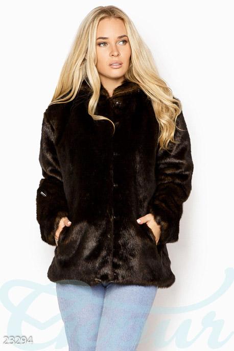 Купить Верхняя одежда / Большие размеры, Короткая эко-шуба, Шуба-23294, GEPUR, темно-коричневый