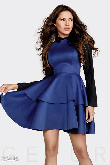 Купить Платья / Мини, Пышное неопреновое платье, Платье-23446, GEPUR, сине-черный