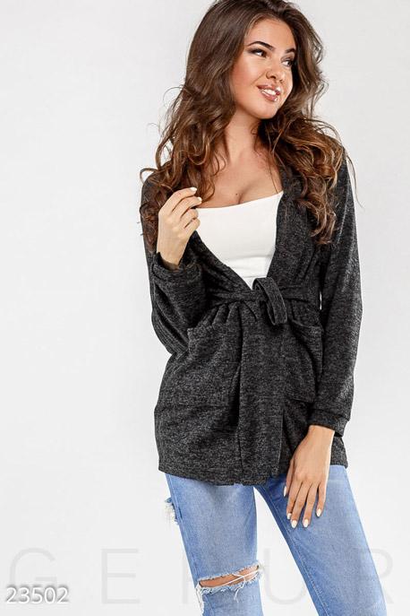 Купить Верхняя одежда / Большие размеры, Кардиган с поясом, Кардиган-23502, GEPUR, темно-серый