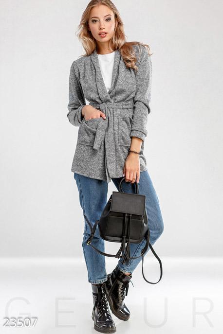 Купить Верхняя одежда / Большие размеры, Кардиган с поясом, Кардиган-23507, GEPUR, серый меланж