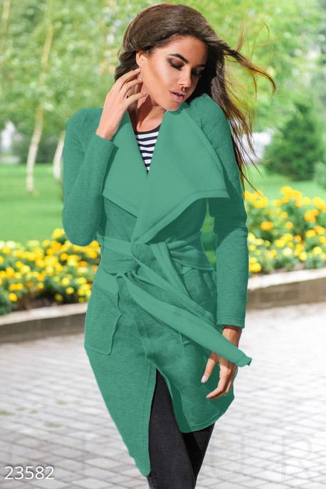 Купить Верхняя одежда / Плащи и кардиганы, Асимметричный флисовый кардиган, Кардиган-23582, GEPUR, зеленый