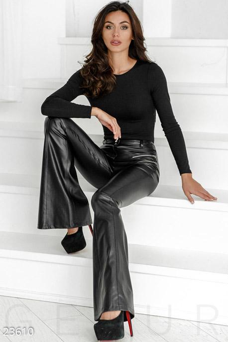 Кожаные брюки-клеш