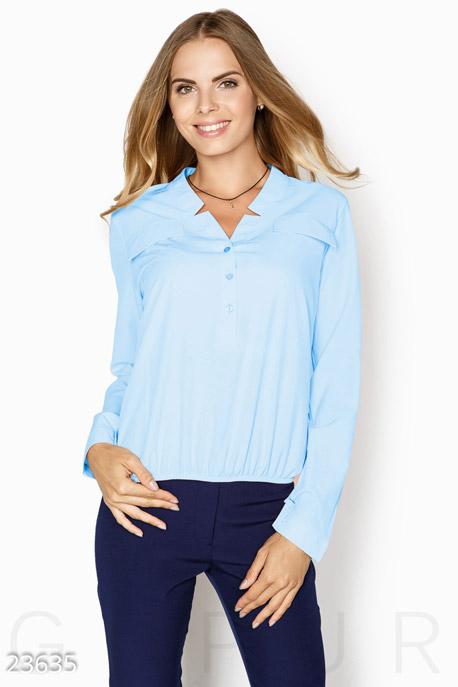 Купить Блузы, рубашки / Большие размеры, Свободная однотонная блуза, Блуза-23635, GEPUR, голубой