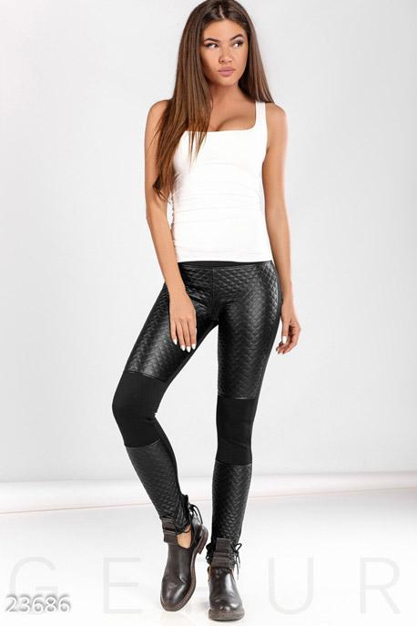 Купить Брюки, леггинсы, шорты / Кожаные, Стеганые женские леггинсы, Леггинсы-23686, GEPUR, черный