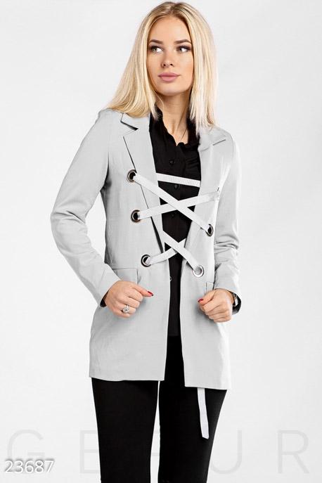 Купить Верхняя одежда / Пиджаки, Жакет со шнуровкой, Жакет-23687, GEPUR, светло-серый