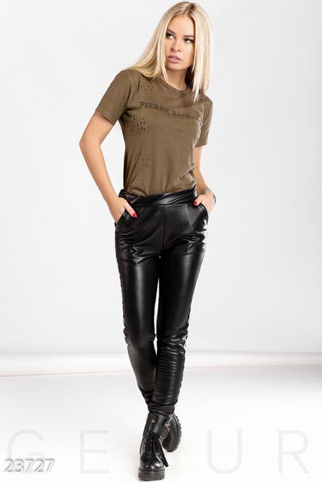 Купить Брюки, леггинсы, шорты / Кожаные, Декорированные кожаные леггинсы, Леггинсы-23727, GEPUR, черный