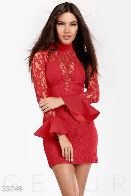 Купить Платья / Мини, Гипюровое платье воланы, Платье-23748, GEPUR, ярко-красный