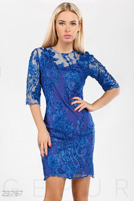 Купить Платья / Мини, Платье декорированное пайетками, Платье-23767, GEPUR, синий