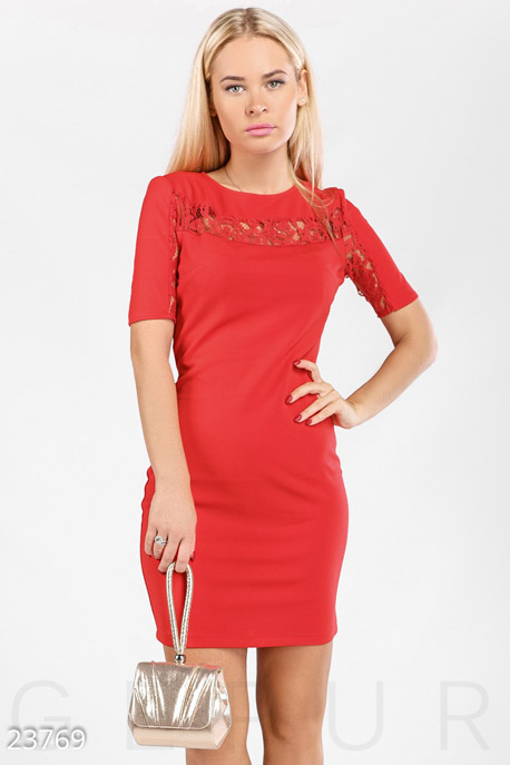 Купить Платья / Мини, Аккуратное коктейльное платье, Платье-23769, GEPUR, ярко-красный