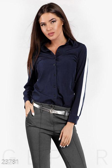 Купить Блузы, рубашки, Строгая блуза-рубашка, Блуза-23781, GEPUR, сине-белый
