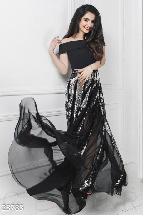 Купить Платья / Анна Тринчер, Потрясающий костюм-двойка, Костюм-23783, GEPUR, серебристо-черный