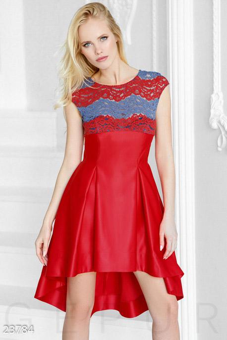 Купить Платья / Мини, Яркое каскадное платье, Платье-23784, GEPUR, ярко-красный