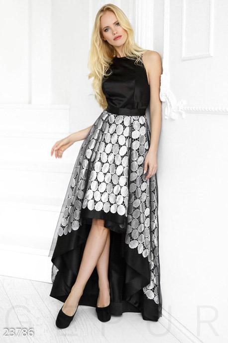 Купить Платья / На выпускной, Уникальное платье-каскад, Платье-23786, GEPUR, черно-белый