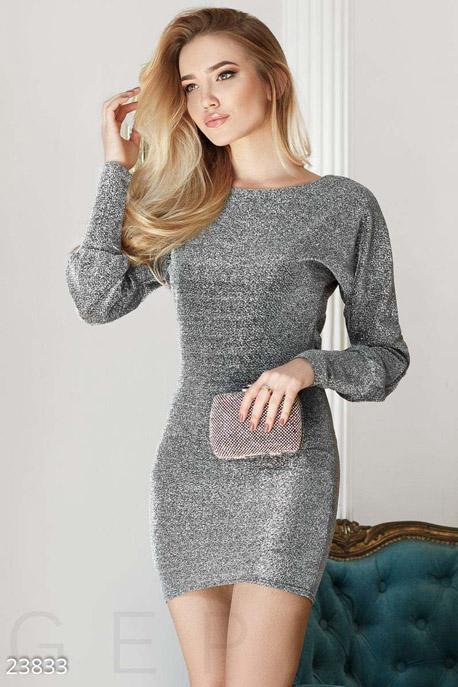 Купить Платья / Мини, Модное платье люрекс, Платье-23833, GEPUR, серебристый