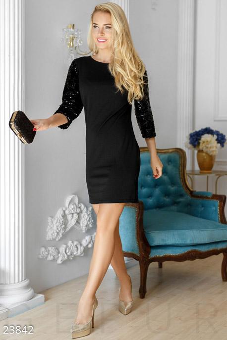 Купить Платья / Мини, Праздничное платье пайетки, Платье-23846, GEPUR, черный