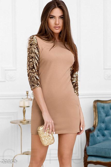 Купить Платья / Мини, Праздничное платье пайетки, Платье-23850, GEPUR, кремово-золотистый