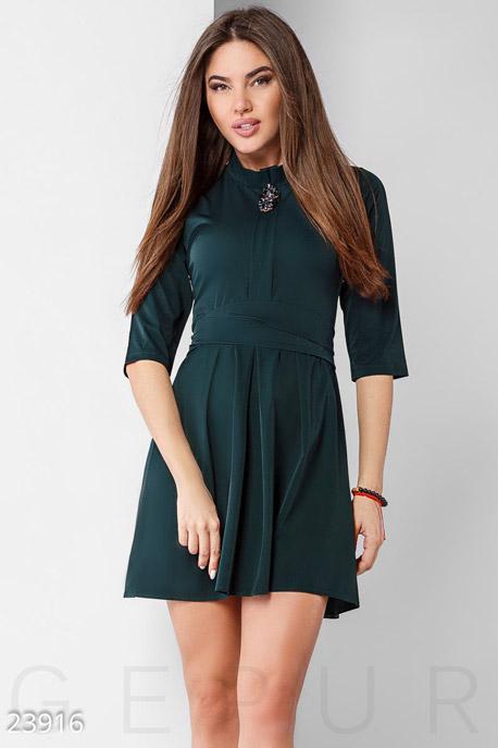 Купить Платья / Мини, Лаконичное праздничное платье, Платье-23916, GEPUR, изумрудный