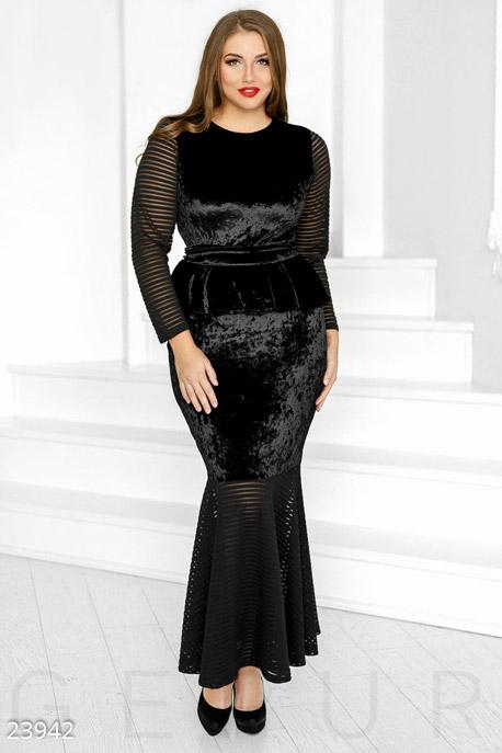 Купить Платья / Большие размеры, Силуэтное праздничное платье, Платье(батал)-23942, GEPUR, черный