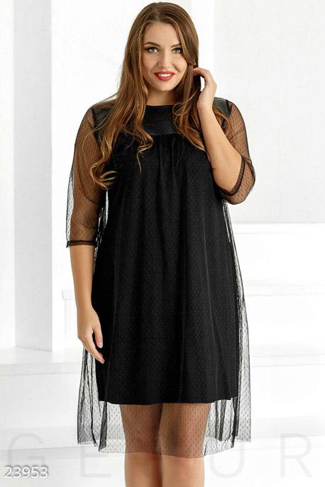 Купить Платья / Большие размеры, Необычное праздничное платье, Платье(батал)-23953, GEPUR, черный