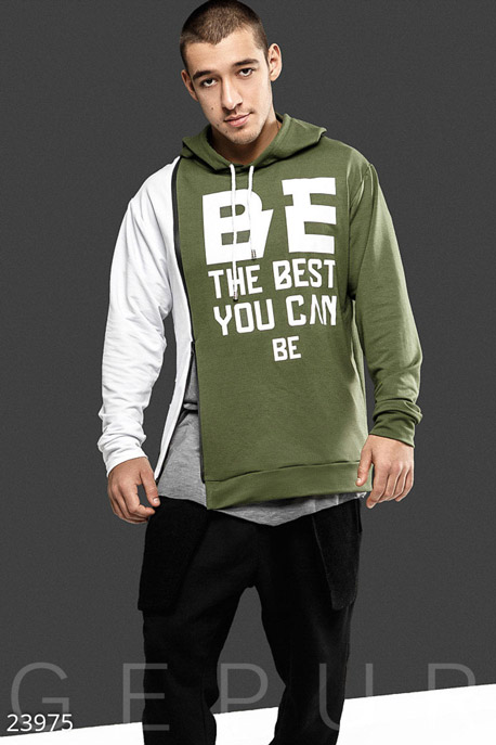 Купить Мужская одежда, Двухцветное мужское худи, Худи-23975, GEPUR, бело-зеленый