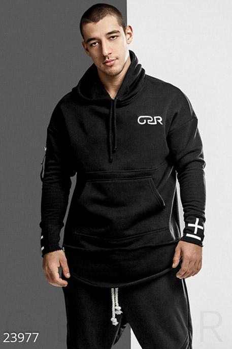 Купить Мужская одежда, Удлиненное мужское худи, Худи-23977, GEPUR, черный