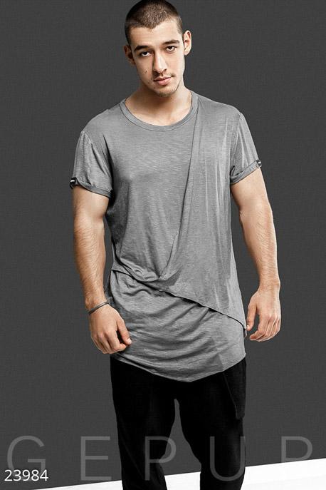Купить Мужская одежда, Свободная мужская футболка, Футболка-23984, GEPUR, светло-серый