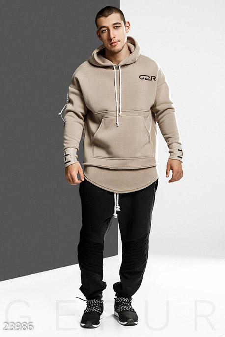 Купить Мужская одежда, Удлиненное мужское худи, Худи-23986, GEPUR, кремовый