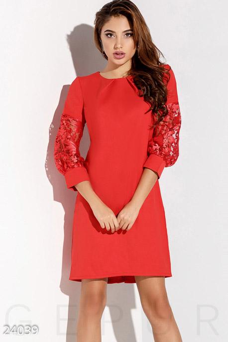 Купить Платья / Мини, Платье рукава-фонарики, Платье-24039, GEPUR, ярко-красный
