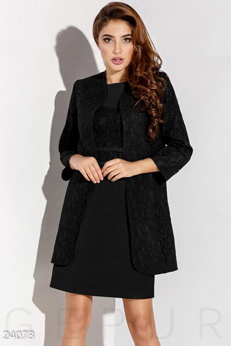 Купить Костюмы и комплекты / Верх пиджак, Элегантный гипюровый костюм, Костюм-24073, GEPUR, черный