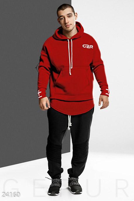 Купить Мужская одежда, Удлиненное мужское худи, Худи-24160, GEPUR, красный