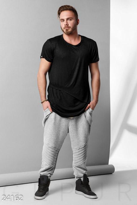 Мужская одежда, Брюки со вставками, Брюки-24162, GEPUR, серый  - купить со скидкой